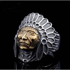 Anel Masculino Cabeça Do Índio Em Aço Gótico Motociclista