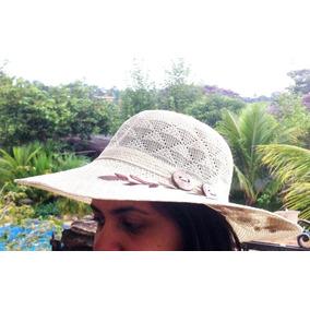 3d472fb4f6956 Lindo Chapéu De Praia Verão Poliester Bege Flores E Madeira. R  15