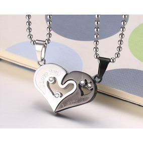 Collar De Pareja Corazon Heart Acero Inoxidable Negro