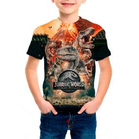 Camiseta Infantil Jurassic World Reino Ameaçado Mod 03