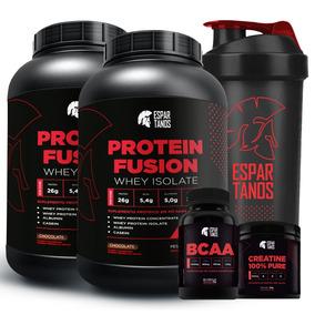 Kit Duplo Whey Protein Fusion + Bcaa + Creatina + Shaker
