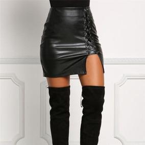 edc5dd6996 Mujer Sexy Negro Pu Cuero Lápiz Falda Bodycon Alta Cintura