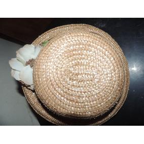 Sombrero Artesanal Con Detalles En Flores Excelente Estado e076c0eb854