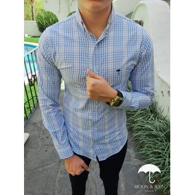 Camisa Slim Fit Blanco Mini Cuadros Azul Y Gris Moon & Rain