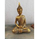 Figura Buda Dorado Abundancia Cerámica 18 Cms Alto
