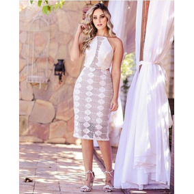 Vestido Midi Madrinha Casamento Formatura Chic Renda