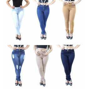 Kit 3 Calça Jeans Cintura Alta Roupa Feminina Barata + Lycra