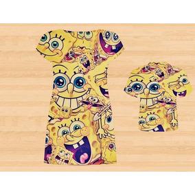 Vestido E Blusa Mãe E Filho - Sponge Bob Tema 1