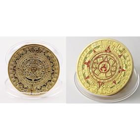Kit 4 Moedas 2x Asteca + 2x Maia + 4 Cavaletes - Banho Ouro