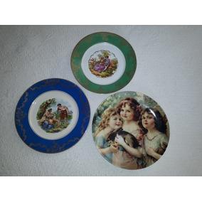 Antigos Pratos De Porcelana Decorativos - Lupa Raridades