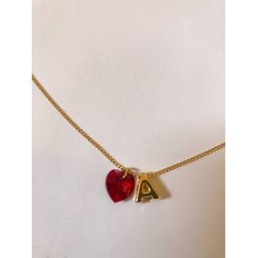 Collar Corazon Cristal Y Letra San Valentin Pareja Novios