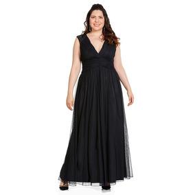 Vestido negro largo corte imperio