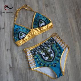 Sexy Oro Brasileño Bikini De Cintura Alta De Traje De Baño