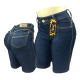 Bermuda Jeans Feminina Cintura Alta Pedal Ciclista Plus Size