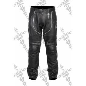 Pantalon De Piel Con Protecciones En Rodilla Y Espinilla