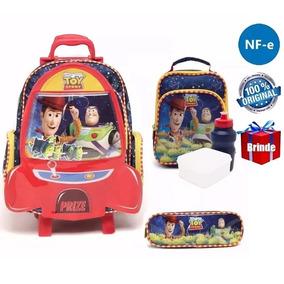 Kit Mochila Toy Story Original C/ Rodinhas Tam G + Brinde