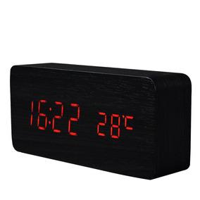Relógio De Mesa Digital Tipo Madeira Com Conector De Tomada