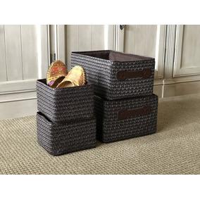 Canastos Cajas Set X 4 Organizadoras Duro Marron Importados