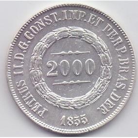 Moeda 2000 Réis 1855 Prata Do Império Lote5