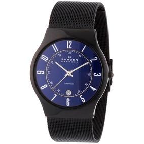 8245e225d3e7b Relógio Masculino Titânio Slim Skagen 956xlttn Fundo Azul - Relógios ...