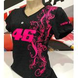 Camiseta Baby Look Valentino Rossi 46 Pink Flowers