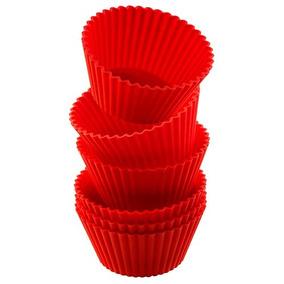 10 Moldes De Silicón Para Cupcake Capacillo Rojos + Envío