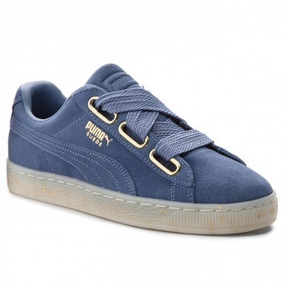 Tenis Puma Dama Heart Suede Azules Gamuza Sneakers A Meses