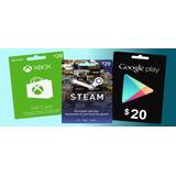 Tarjetas De 20 Para Google, Xbox, Steam, Etc