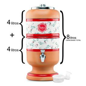 Filtro De Barro Para Água 4 Litros Branca + 1 Vela Boia 4l