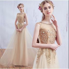 Vestido Longo De Festa Bordado Dourado Com Cinto 1028