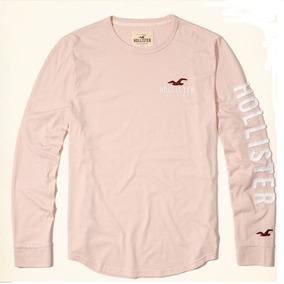Hollister Camiseta Cuello Redondo Rosa Palido Print