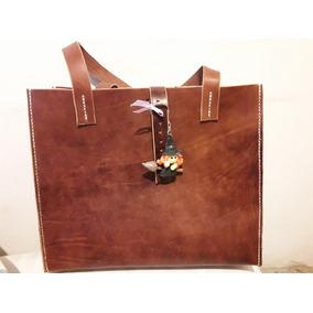 Bolso Tote Bag,cuero Engrasado,cocido A Mano Hilo Encerado
