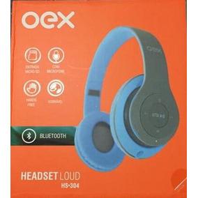 Fone Ouvido Headset Loud Bluetooth Hs304 Cinza Com Azul Oex