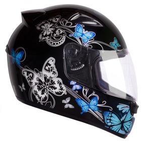 Capacete Moto Ebf New Spark Borboletas Preto Azul 58
