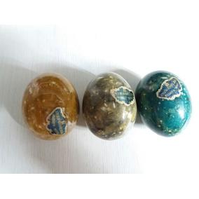 3 Ovos Em Pedra Alabastro Colorido