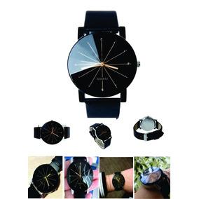 Relógio Quartz Feminino Pulseira De Couro Preto