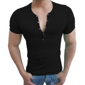 Camisa Henley Masculina Slim Botão Press Manga Curta Viscose