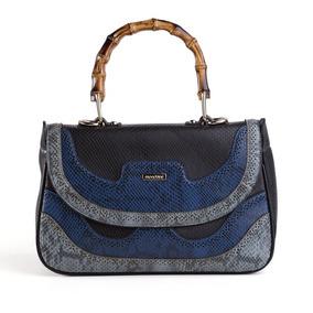 Bolsa Grande De Mão Azul Phyton Preta Mondaine