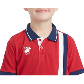 Playera York Team Polo Club Roja Lineas Verticales Niño