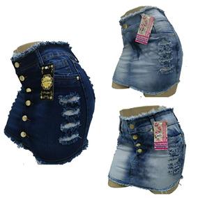 Roupas Femininas Kit De 03 Saia Jeans Plus Size 36 Ao 50