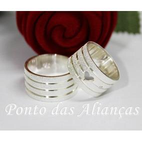 Alianca De Prata Grossa Com Coracao - Joias e Relógios no Mercado ... 87661e97e7