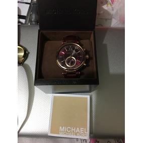 Hermoso Reloj Michael Kors Color Vino De Piel