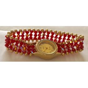 Reloj Pulsera De Cristal Rojo Tornasol. Largo Pulso 18cm