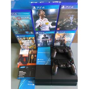 Playstation 4 Ps4 1000gb 2 Controle + Jogos Na Caixa Barato