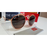 6d3f164c09a4a Óculos Sol Ray-ban Round Double Bridge Rb3647 Rosê Degradê
