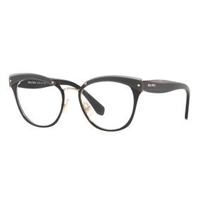 Armacao Miu Miu Gatinha Preta Com Aste Dourada - Óculos no Mercado ... ad9f656cca