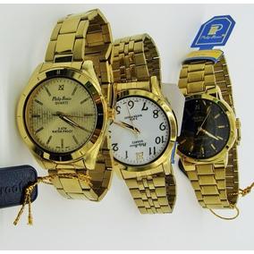 Kit 10 Relógio Masculino Aço .foliado A Ouro