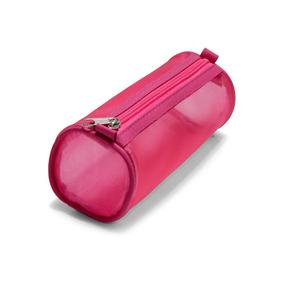 Estojo Escolar Cilíndrico Suporta 60 Canetas Pink Feminino