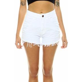 Shorts Jeans Coloridos Cintura Alta Lady Rock Hot Pants Jean