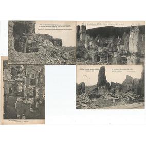 França 1914/1918 4 Cartões Postais Destruição 1ª Guerra Lt 3
